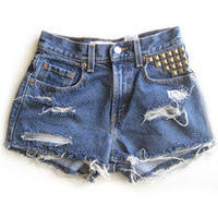 cross studded high waisted shorts