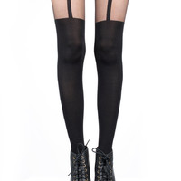 Pretty Polly Black Suspender Tights - Motel Rocks