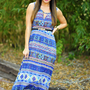 Fall Of The Tribe Maxi Dress: Blue | Hope's