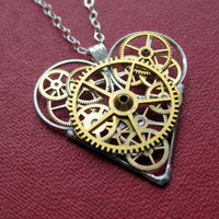 Heart Necklace &quot;Works&quot; Clockwork Gears Heart Steampunk Necklace Clockwork Love Sculpture by A Mechanical Mind Mother&#x27;s Day