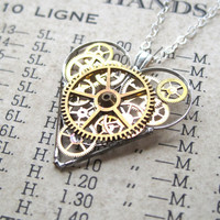 "Heart Necklace ""Assemble"" Clockwork Gears Heart Steampunk Necklace Clockwork Love Sculpture by A Mechanical Mind Mother's Day"