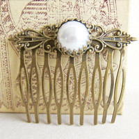 Wedding Pearl Hair Comb Bridal Hair Comb Vintage Style Shabby Chic Comb Ivory White Pewter Bronze Victorian Spanish Lord of the Rings LOTR
