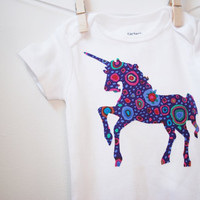 Baby Applique Bodysuit - Purple Unicorn Applique Onesuit 3 months with Kaffe Fassett Fabric - Unicorn UNICRON