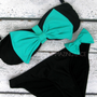 The Bardot II Mint Bow Black Bikini