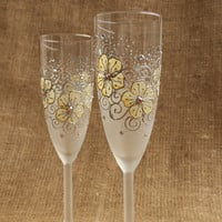 Hand Painted Champagne Wine Glasses Flutes Vanilla and White Floral Design Swarovski Crystals Set of 2