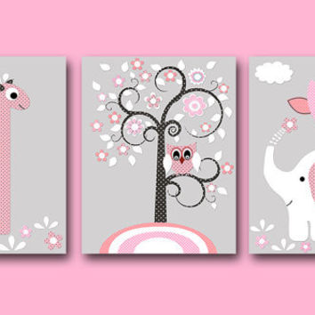 "Elephant Giraffe Baby Girl Nursery art print Children Wall Art Baby Room Decor Kids Print set of 3 8""x10"" elephant giraffe nursery gray rose"