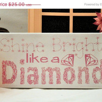 Fab Five Birthday Sale Shine Bright like a Diamond - Expressive Art on Canvas wall decor for Dorm, Bedroom, Kitchen, Bathroom
