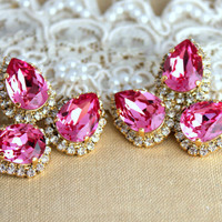 Statement earrings Pink Crystal big teardrops stud earring - 14k plated gold post earrings real swarovski rhinestones.