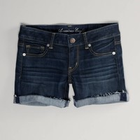 AE Dark Denim Midi Short | American Eagle Outfitters