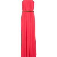 Pink Bandeau Belted Maxi Dress