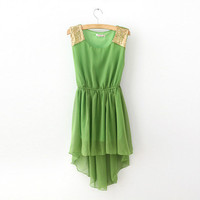 Green dress with irregular skirt from Whitelily Fashion