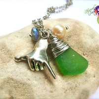 Hawaii Shaka Necklace - Hawaiian surfer jewelry, sea glass & surf pendant by Mermaid Tears