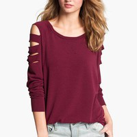 h.i.p. Cutout Shoulder Sweatshirt (Juniors) | Nordstrom