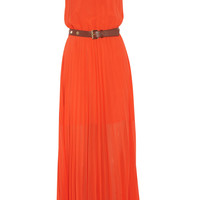 MICHAEL Michael Kors | Belted pleated chiffon maxi dress | NET-A-PORTER.COM