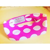 Hot Pink Polkadot Stretch Headband