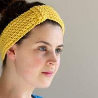 Mustard Yellow Crochet Headband  Ear warmers by LumiStyle on Etsy