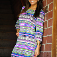 Just A Minute Aztec Dress: Multi | Hope's