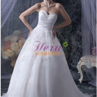 Ruffles A-line Sweetheart Neckline Floor Length Applique White Wedding Dress