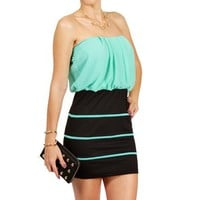 Black/Mint Contrast Mini Dress