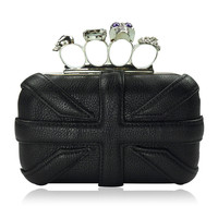 Union Jack Shaped Skeleton Hard Shell Clutch  Faboutique