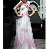 Beautiful One-shoulder Floor Length A-line Transparent Net Evening Dress -SinoSpecial.com