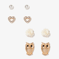Owl, Flower, Heart & Bead Stud Set | FOREVER 21 - 1024424386