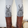 Wild Catalope Leggings - Womens Grey Jersey Spandex High Waist Cat wild catalope Leggings - Grey and Black - by Bark Decor