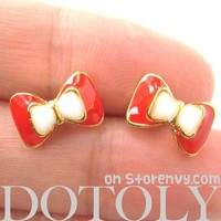 Small Bow Tie Ribbon Stud Earrings in Red White and Gold