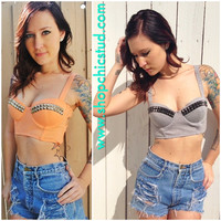 Studded Bustier Bra Top Orange Creme or Grey  by ShopChicStud