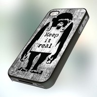 Banksy Monkey Keep It Real PB0145 Design For IPhone 4 or 4S Case