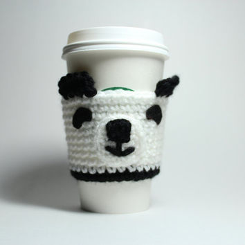 Panda coffee cozy, Animal Cup Sleeve, Kawaii Crocheted Cozy
