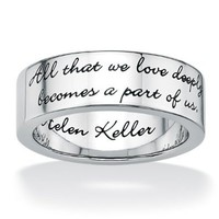 PalmBeach Jewelry Stainless Steel Enamel-Finish Inspirational Helen Keller Message Band Ring: Jewelry: Amazon.com
