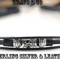 7N-383 BRAVO & CO Sterling Silver Leather Cord New Combo Choker Men Necklace.