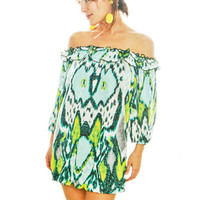 Abstract Off Shoulder Dress - Furor Moda - Tops - Dresses - Jackets - Vintage