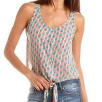 Tie-Front Tribal Button-Down Tank: Charlotte Russe