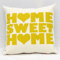 "Home Sweet Home - chartreuse screen printed housewarming organic pillow, 12""x12"""