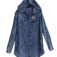 Denim Top with Removable Hoodie - Mexy  - New fashion clothing &amp; accessories for smaller size women like you - Mexy Shop