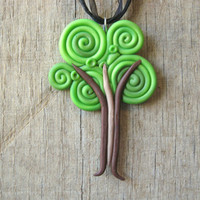 Tree Necklace Pendant from Swirls of Polymer Clay
