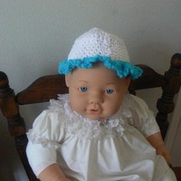 Hand Crocheted White and Aqua Ruffled Baby Hat