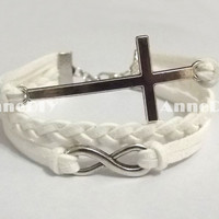 bracelet - cross bracelet - infinity bracelet - white bracelet, gift for birthday, wedding, braid bracelet