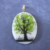 Tree of Life Pendant, Omega Slide, Fused Glass Jewelry, Tree Jewelry on Etsy - Black Walnut - 4105 -3