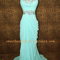 Sweetheart Ice blue prom dress/graduation dress