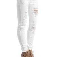 destroyed-solid-color-skinny-jeans WHITE - GoJane.com
