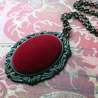 Red Crushed Velvet Necklace - Gothic Red Black Pendant Gift Box - Halloween