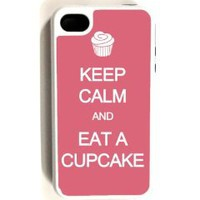 Amazon.com: iPhone 4 Case - Hard Capsule Case iPhone 4/4s White Case- Keep Calm Eat A Cupcake Pink: Cell Phones & Accessories