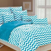 Amazon.com: Marlo Lorenz 4892 Chevron Microplush Comforter Set, Clear Blue, Full/Queen: Home & Kitchen