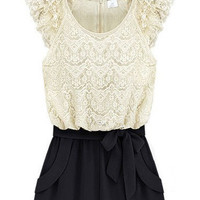 White Black Sleeveless Lace Belt Jumpsuit - Sheinside.com