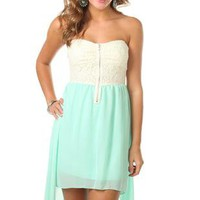 strapless high low dress with lace bodice - 1000045366 - debshops.com