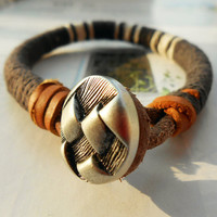 Spring Gift Unique Metal Button Charm Grey White Cotton Thread Woven Nature Brown Leather Belt Fashion Bangle Wrap Bracelet  C-81