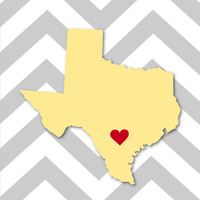 Chevron Custom State/City Heart Love Print - Wedding Print - California - Texas - 8&quot;x10&quot; (Available for any State)